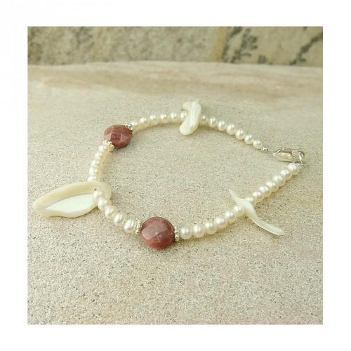 Bracelet nacre, rhodonite et perle d'eau douce