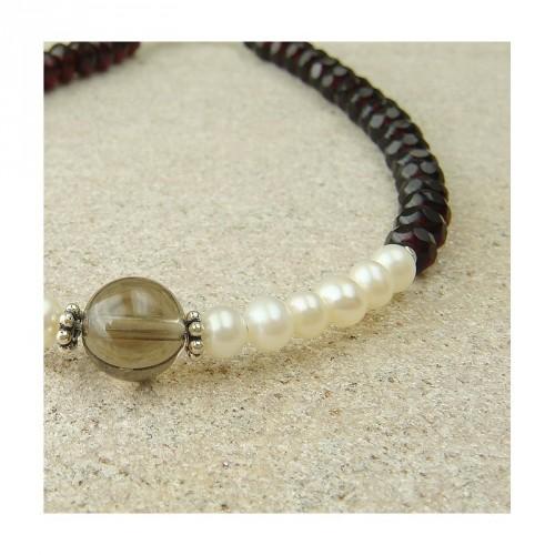 Bracelet quartz fumé, biwa et grenat facetté