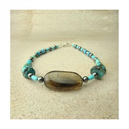 Bracelet quartz fumé, turquoise et hématite