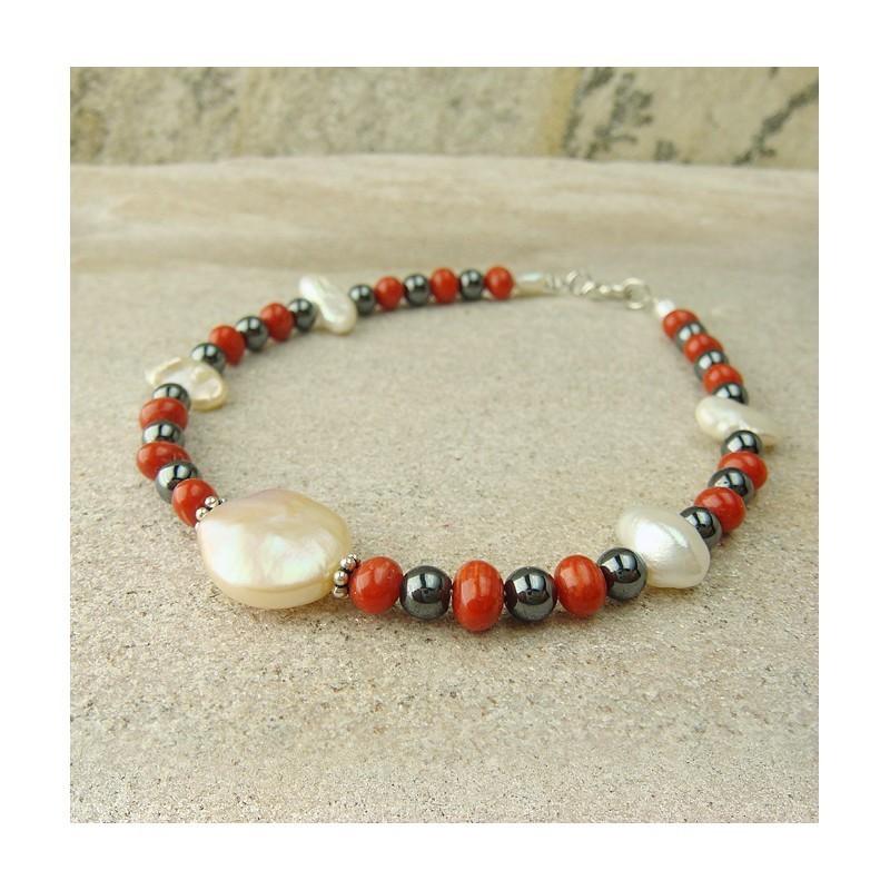 Bracelet nacre, corail et hématite