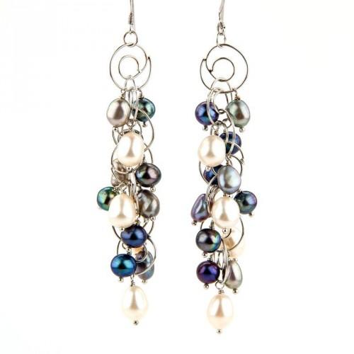 Boucles d'oreilles en argent et perles de culture