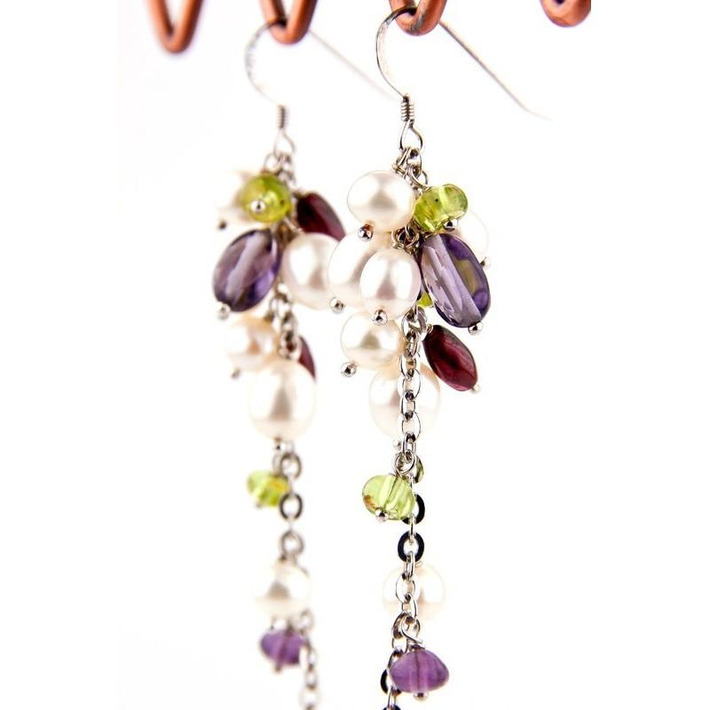 Boucles d'oreilles en argent, perles de culture, iolite, grenat et péridot