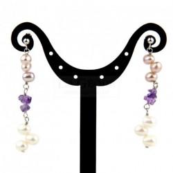 Boucles d'oreilles en argent, perles de culture et améthyste