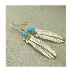"""Boucles d'oreilles """"plumes d'aigle"""" en turquoise, argent 925 et or fin"""