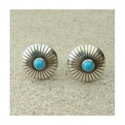 Puces d'oreilles en turquoise et argent 925