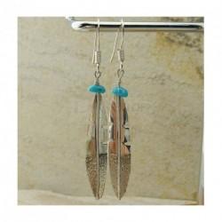 """Boucles d'oreilles """"plumes d'aigle"""" en turquoise et argent 925"""
