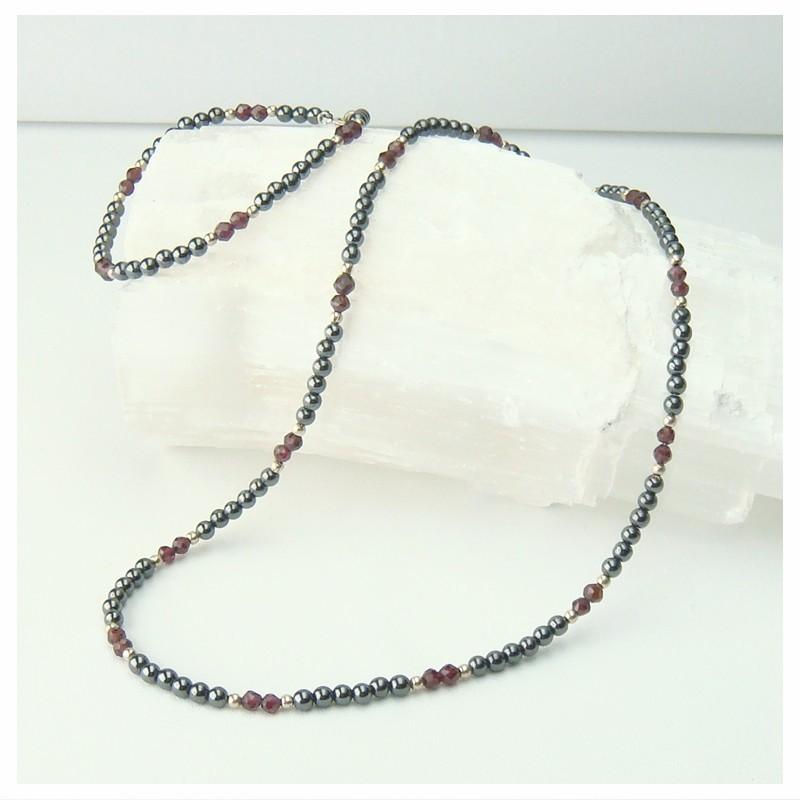 Parure collier et bracelet hématite et grenat facetté