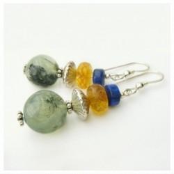 Boucles d'oreilles en prehnite, ambre et lapis lazuli