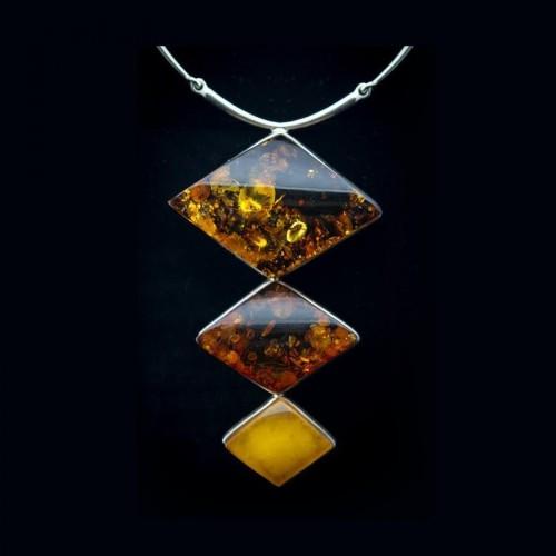 Collier ambre et argent massif