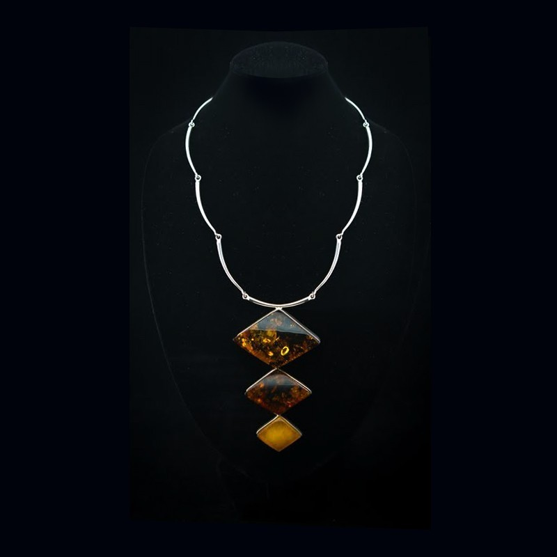 Bijoux Argent Massif Et Pierre : Collier ambre et argent massif