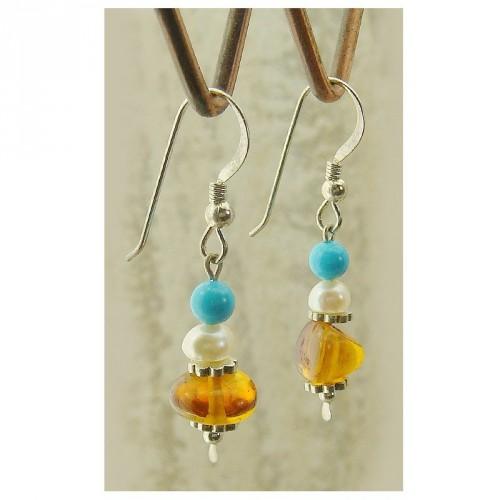 Boucles d'oreilles en ambre, turquoise et perle d'eau douce