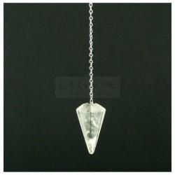 Pendule à facettes en quartz naturel