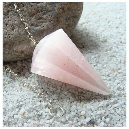 Pendule à facettes en quartz rose