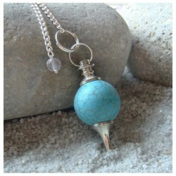 Pendule sephoroton en howlite turquoise
