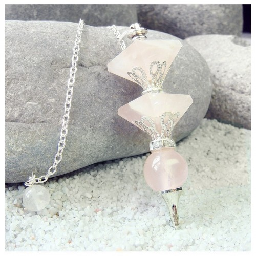 Pendule 2 pyramides quartz rose 11