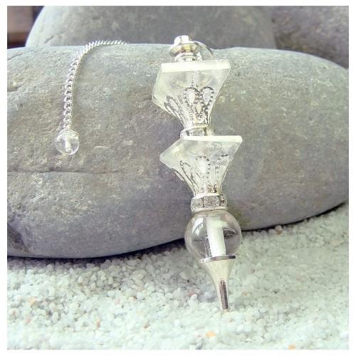 Pendule 2 pyramides cristal de roche 12